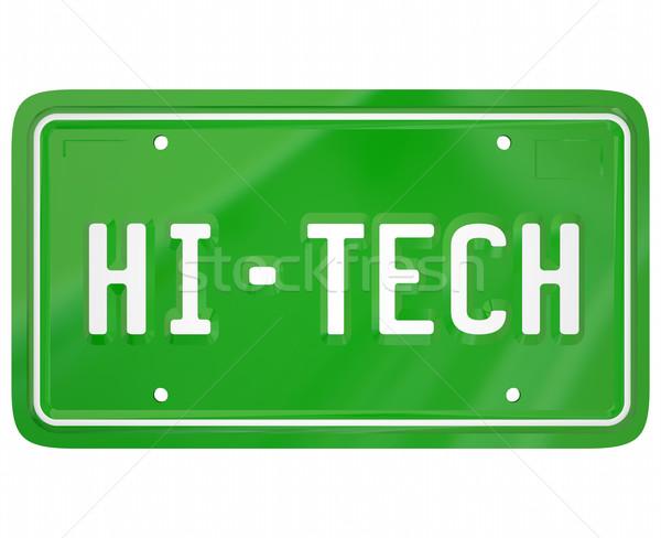 Kentekenplaat moderne nieuwe technologie digitale auto Stockfoto © iqoncept
