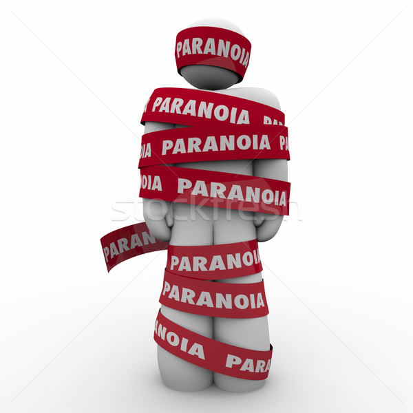 Paranoia Word Man Wrapped Tape Anxious Stress Worry Stock photo © iqoncept