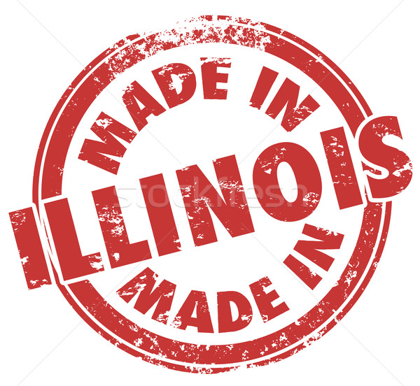 Made in Illinois Words Round Red Stamp Product Origin Pride Stock photo © iqoncept