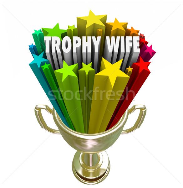 Trofee vrouw 3D woorden aantrekkelijk vrouw Stockfoto © iqoncept