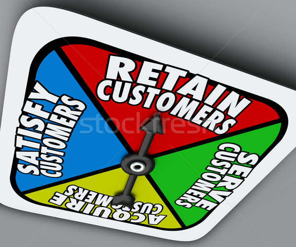 Retain Serve Satisfy Acquire Customers Game Board Spinner Stock photo © iqoncept