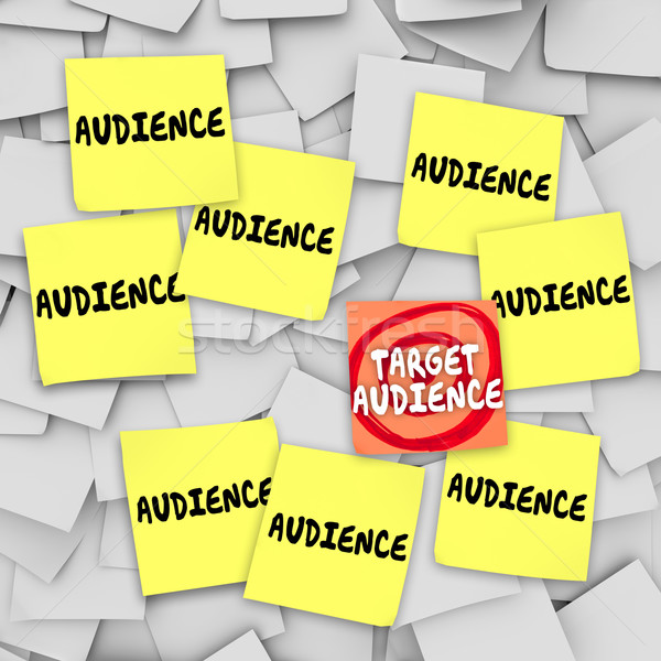 Target Audience Sticky Notes Bulletin Board Marketing Message Stock photo © iqoncept
