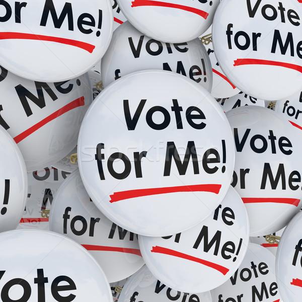 Stemming me knoppen verkiezing kandidaat ondersteuning Stockfoto © iqoncept