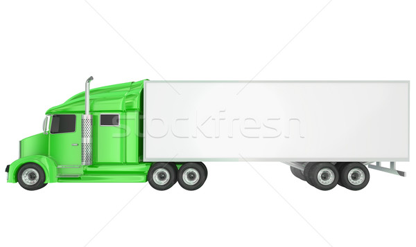 Green 18 Wheeler Class 8 Truck Blank Copy Space Trailer Stock photo © iqoncept