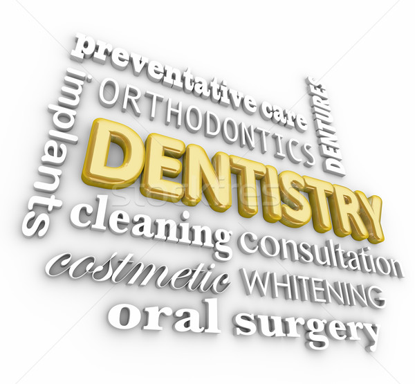 Dentistry 3d Word Collage Orthodontics Braces Dentures Stock photo © iqoncept