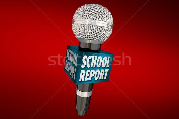 School Report Education News Microphone Update 3d Illustration Stock photo © iqoncept