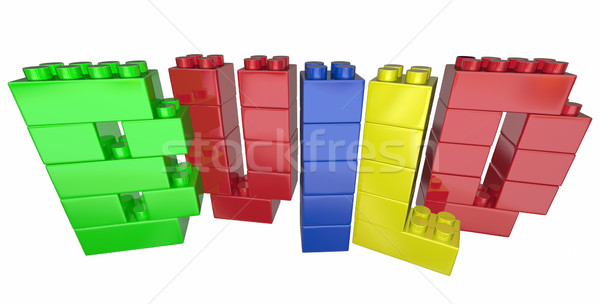 Build Construct Project Task Blocks Word Letters 3d Illustration Stock photo © iqoncept