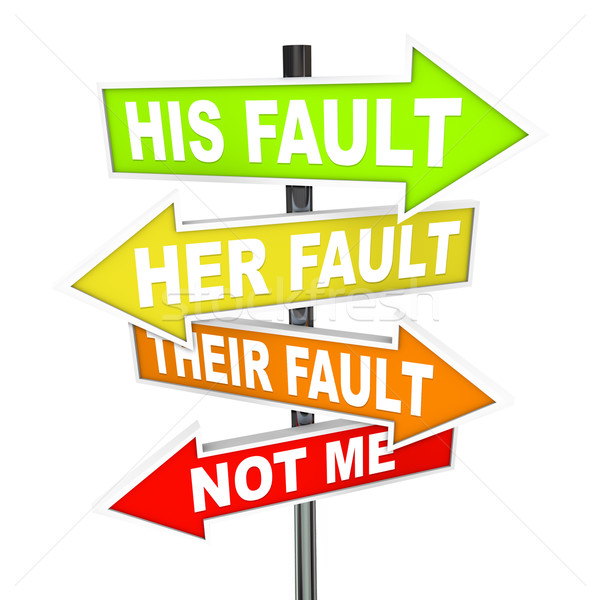 Stock photo: Arrow SIgns - Not My Fault Shifting Blame