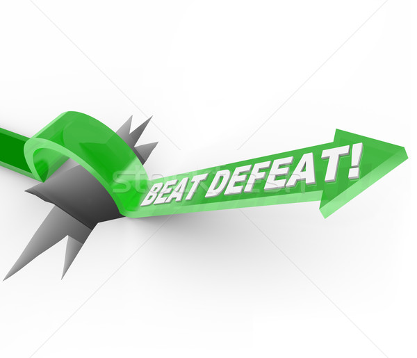 Stock photo: Beat Defeat - Arrow Jumping Over Hole to Overcome Adversity