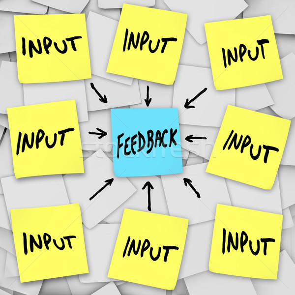 Input and Feedback - Sticky Note Message Board Stock photo © iqoncept