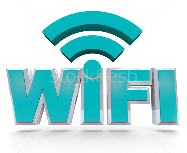 Foto d'archivio: Wifi · blu · lettere · wireless · caldo · spot