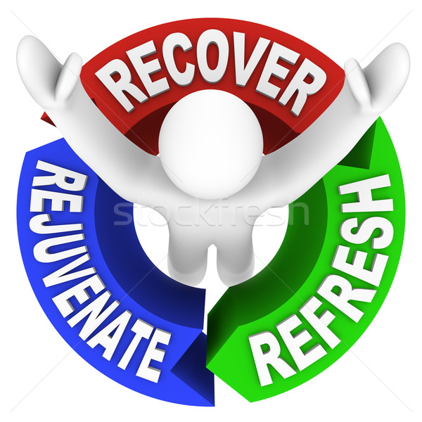 Recover Rejuvenate Refresh Words Self Help Therapy Stock photo © iqoncept