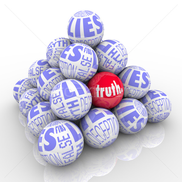 The Truth Hidden Among Lies Pyramid of Stacked Balls Stock photo © iqoncept