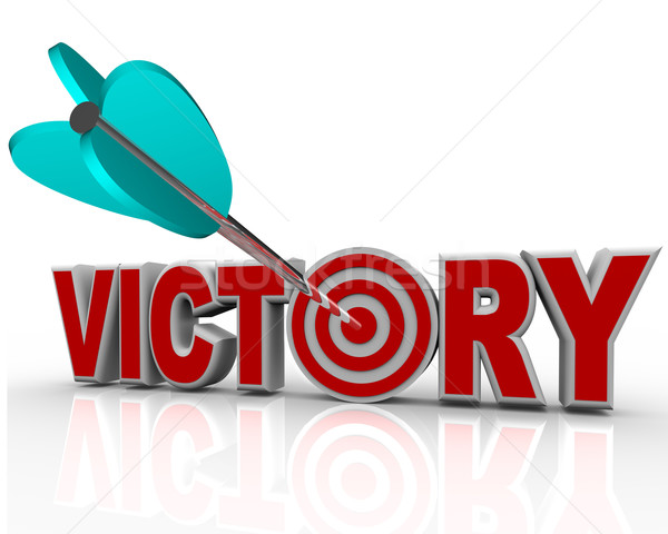Victory Arrow in Word Succeed Triumph in Competition Stock photo © iqoncept