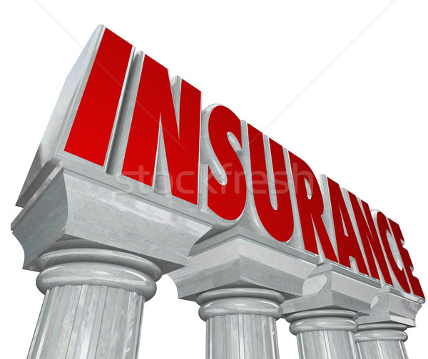 Insurance Word Marble Columns Safey Security Protection Stock photo © iqoncept