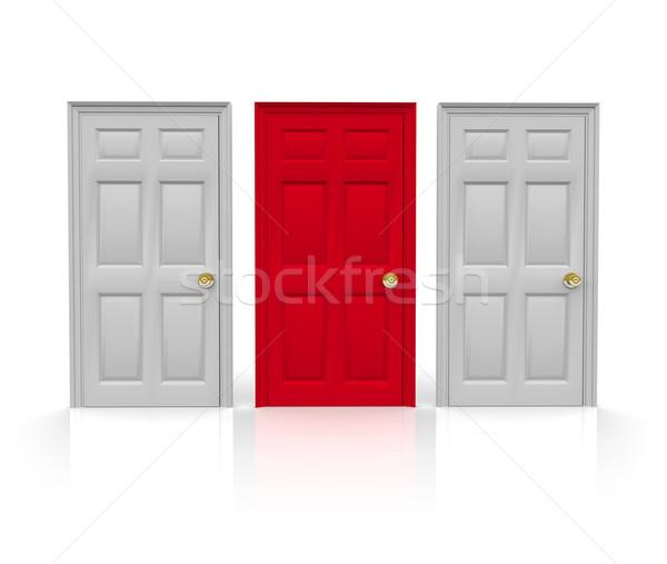 Három ajtók választ áll piros egy Stock fotó © iqoncept