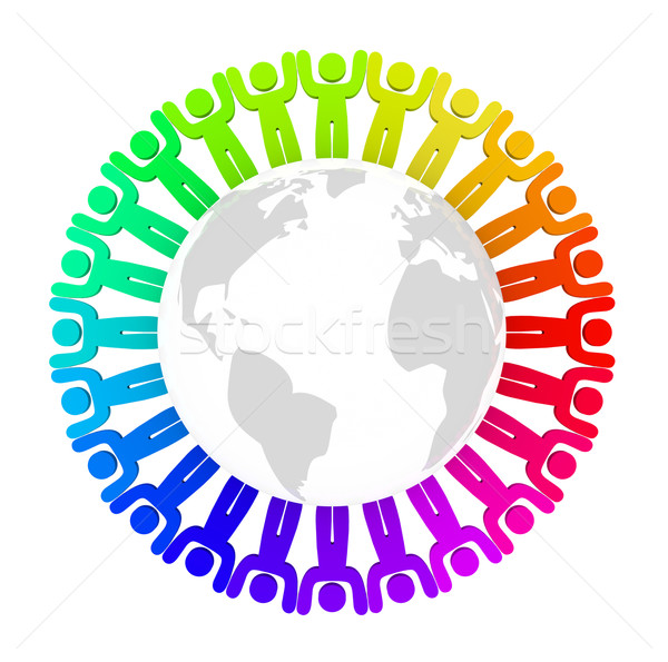 Diverse People Standing Around Earth Stock photo © iqoncept