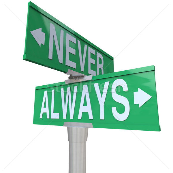 Always Vs Never 2 Two Way Street Road Signs Stock photo © iqoncept