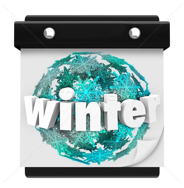 Winter Snowflake Background Calendar Page Start Season Stock photo © iqoncept