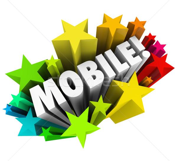 Mobile Wort Sternen Smartphone Tablet Wireless-Technologie Stock foto © iqoncept