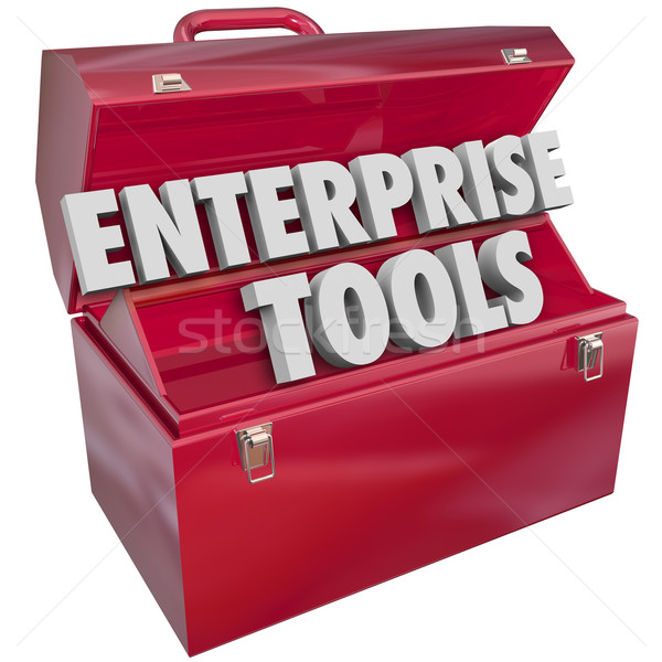 Enterprise Tools Red Metal Toolbox Company Business Software App Stock photo © iqoncept