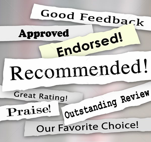 Recommended Approved Review Rating Torn Headlines Words Stock photo © iqoncept