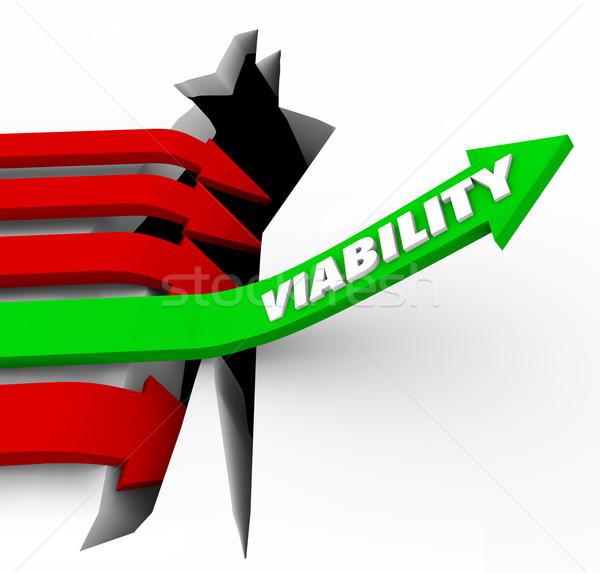 Flèche possible potentiel succès mot vert Photo stock © iqoncept