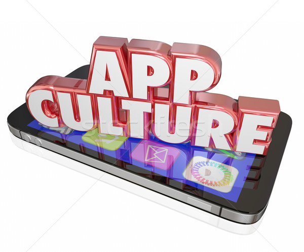 App Culture 3d Words Cell Mobile Phone Download Applications Sof Stock photo © iqoncept