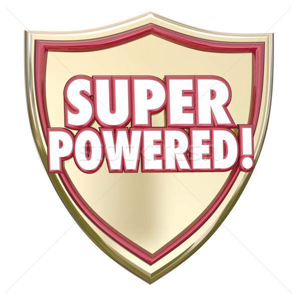 супер щит слов superhero способность могущественный Сток-фото © iqoncept