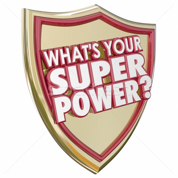 Super poder palavras escudo capacidade Foto stock © iqoncept