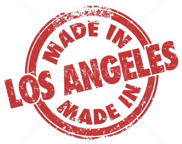 Made in Los Angeles Words Stamp Red Grunge Style LA California Stock photo © iqoncept