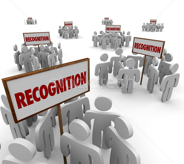 Recognition Word Signs Groups People Workers Employees Appreciat Stock photo © iqoncept