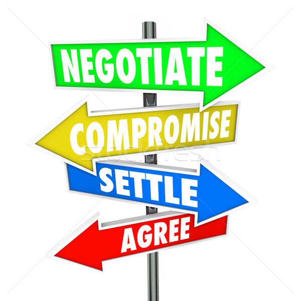 Kompromiss Worte Zeichen arrow veranschaulichen Stock foto © iqoncept