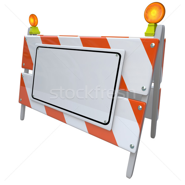 Angled Construction Road Barrier Barricade Sign Blank Copy Space Stock photo © iqoncept