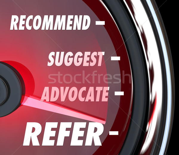 Refer Suggest Advocate Recommend Speedometer Stock photo © iqoncept