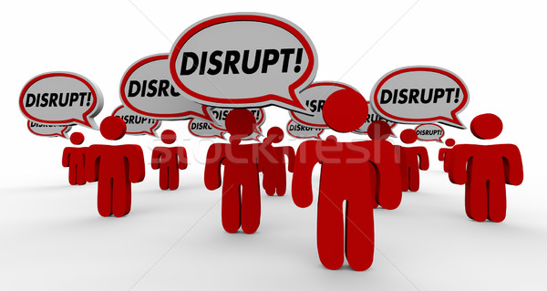 Disrupt Change Innovate Speech Bubble People 3d Illustration Stock photo © iqoncept