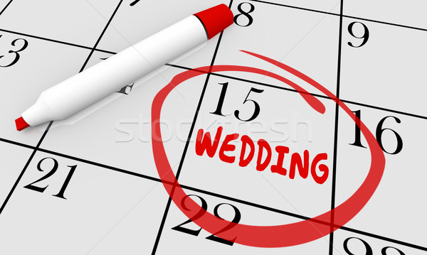 Wedding matrimonio data giorno calendario illustrazione 3d Foto d'archivio © iqoncept