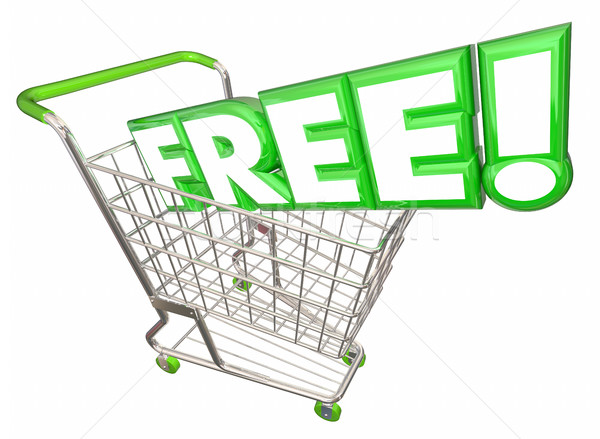 Free Word Bonus Gift Special Complimentary Shopping Cart 3d Illu Stock photo © iqoncept