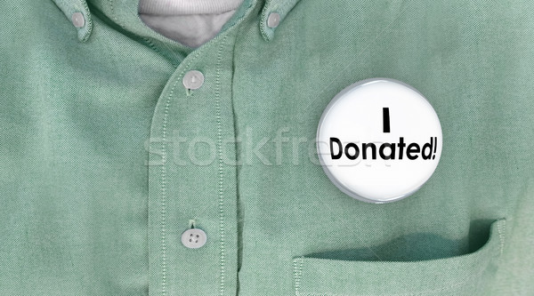 I Donated Gave Money Donation Contributor Button Pin 3d Illustra Stock photo © iqoncept