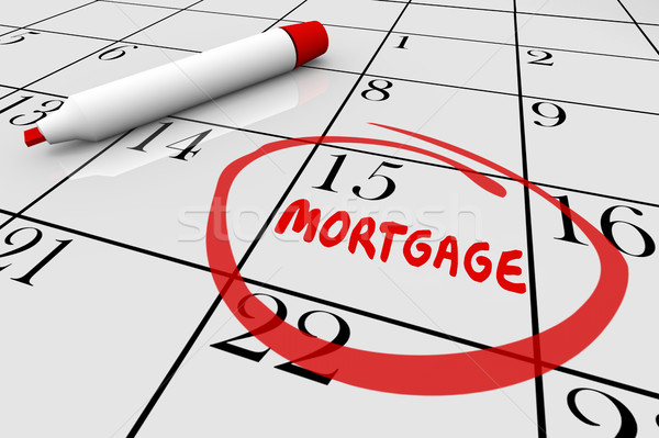 Hipoteka domu płatność pożyczka ustawy data Zdjęcia stock © iqoncept