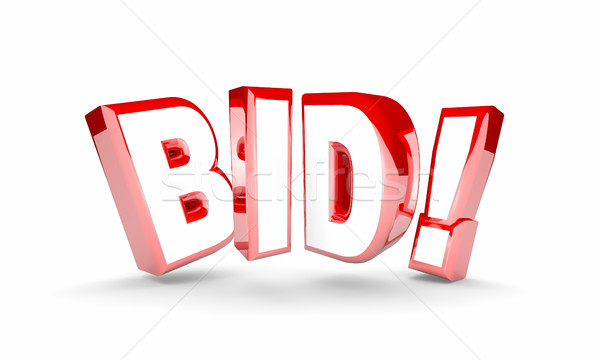 Bid Auction Buy Item Product High Price Win Word 3d Illustration Stock photo © iqoncept