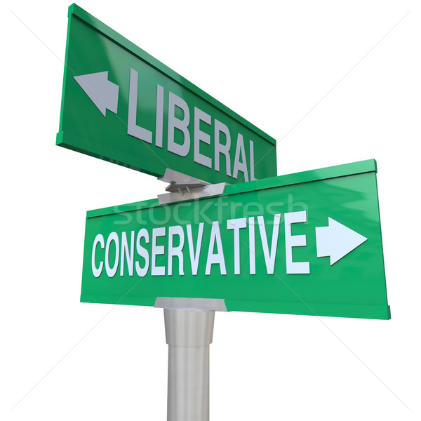 Liberal Versus Conservative Two Way Signs 2 Party System Stock photo © iqoncept