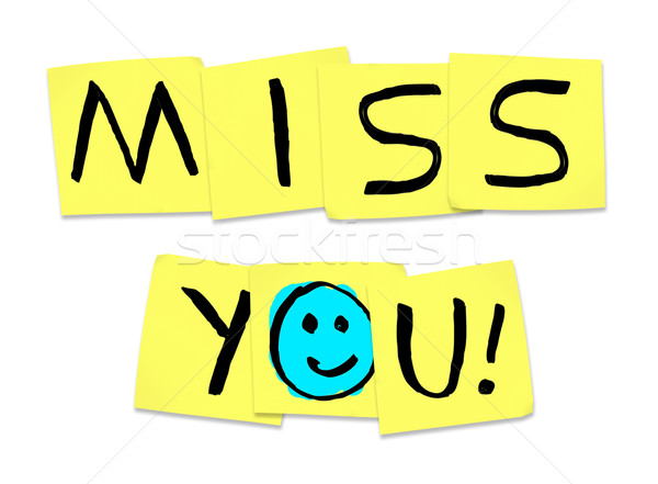 Miss You - Words on Yellow Sticky Notes Stock photo © iqoncept