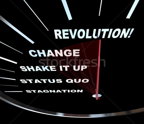 Verandering snelheidsmeter revolutie naald racing woorden Stockfoto © iqoncept