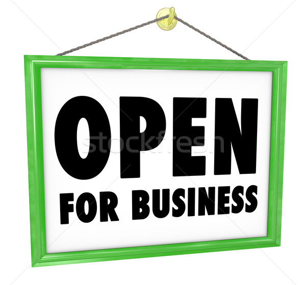 Stock photo: Open for Business Sign Hanging Store Window Door