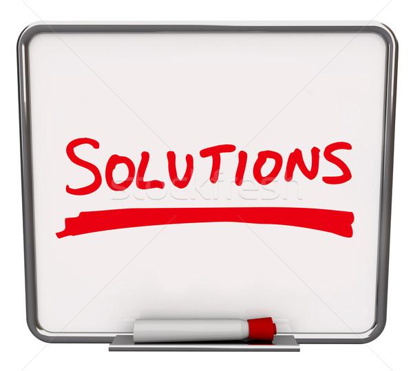 Megoldások szó írott száraz tábla fehér Stock fotó © iqoncept