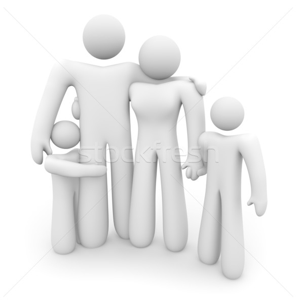 Family Standing Together - Dad, Mom and 2 Kids Stock photo © iqoncept