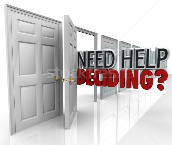 Szükség segítség sok ajtók szavak lehetőségek Stock fotó © iqoncept