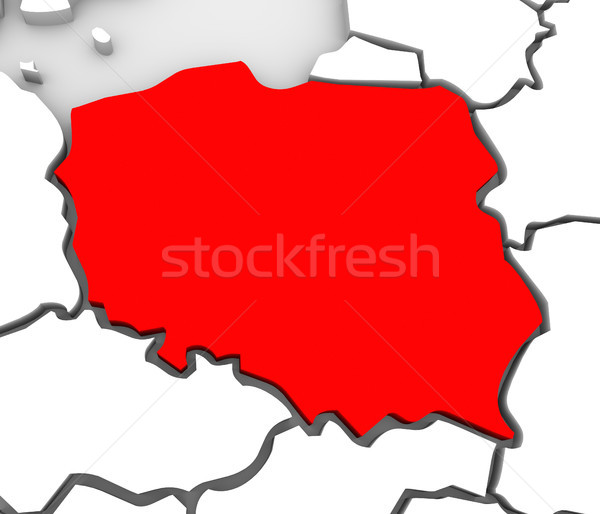 Poland Abstract 3D Map Northern Eastern Europe Stock photo © iqoncept