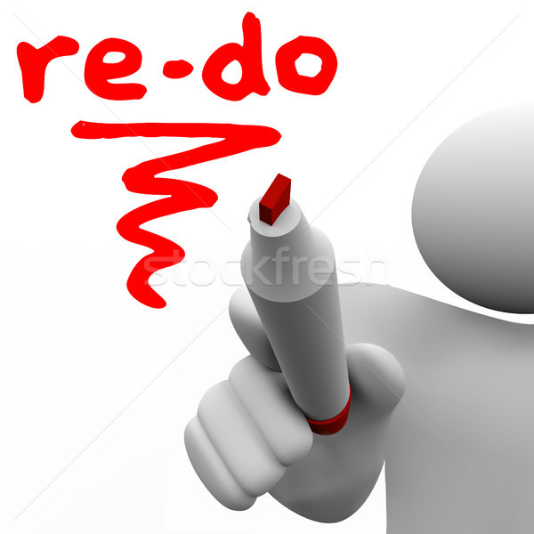 Re-Do Word Written on Board Marker Man Redo Change Stock photo © iqoncept